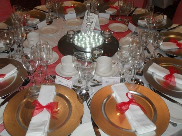 Silver Charger Plate Hire Red Napkin Ribbon