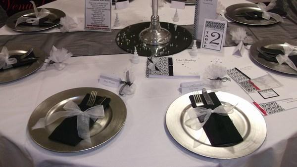 Silver Charger Plate Hire Black Napkin, Napkin Ribbon