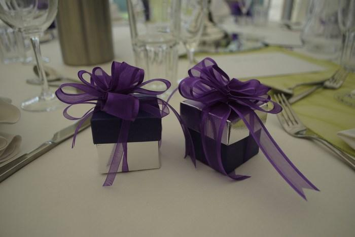 silver & purple favour box with purple deluxe ribbon