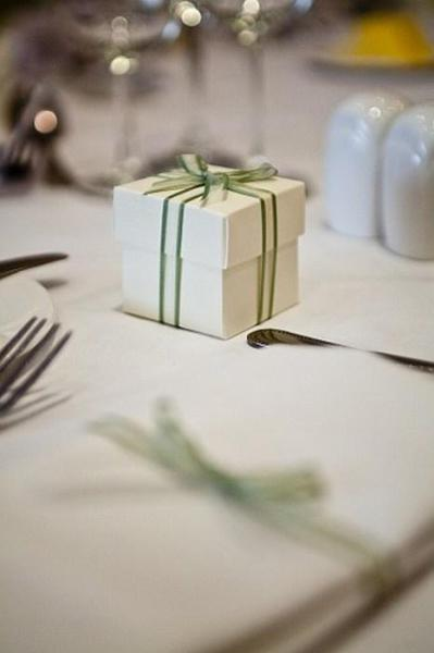 white favour box with sage bow