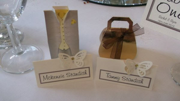 tuxedo and gold handbag favours
