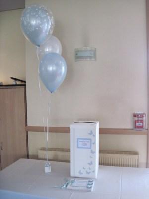 Trio of balloon with top balloon double bubble