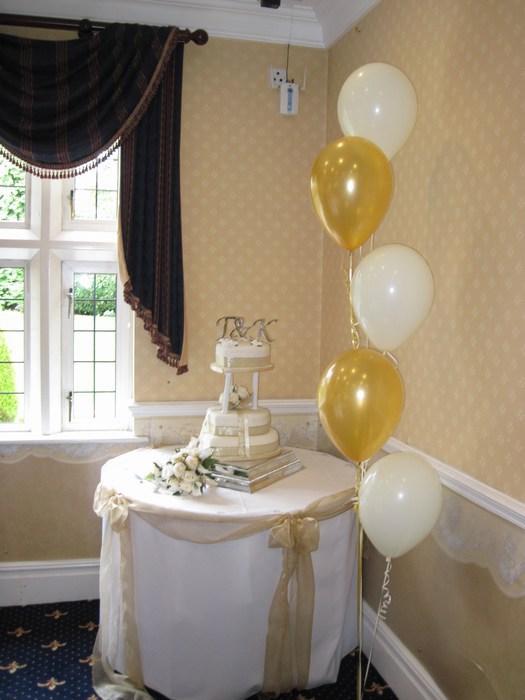 five balloon clusters floor standing