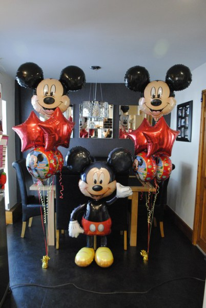 Disney Mickey mouse party balloons, airwalker & foil clusters