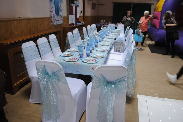 Frozen chair cover sashes with snowflakes