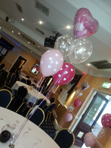 Christening balloon clusters of five with foil topper