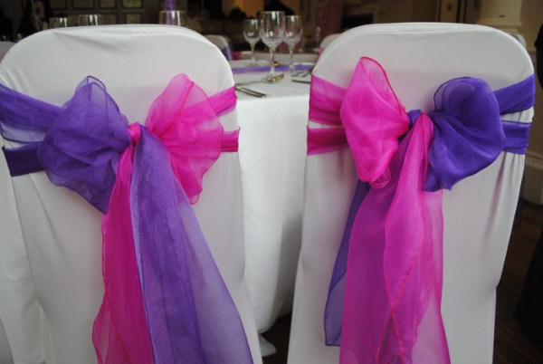 Double bow colour split chair cover sash hire