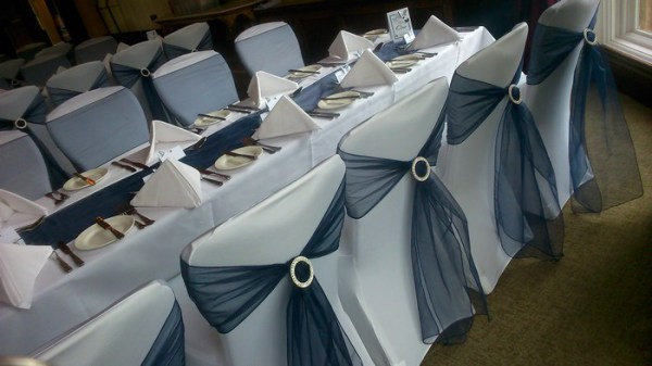 Cathedral tied chair cover sash hire