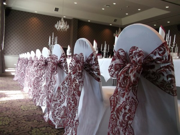 Single bow chair cover sash hire