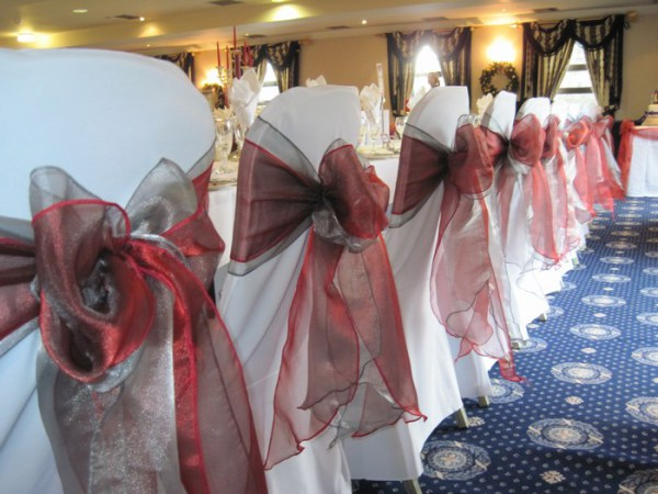 Double bow chair cover sash hire