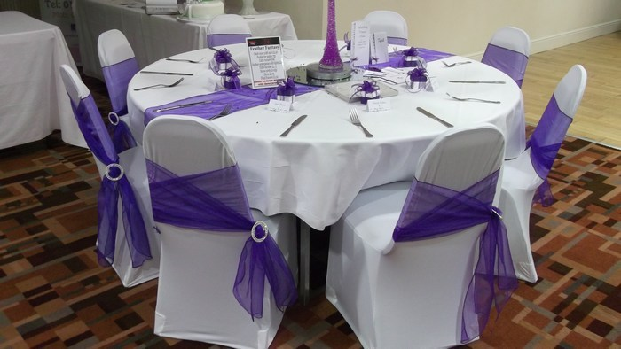 Romance tied chair cover sash hire