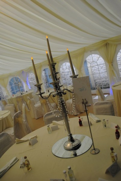 Silver Candelabra with diamante garlands and LED candles