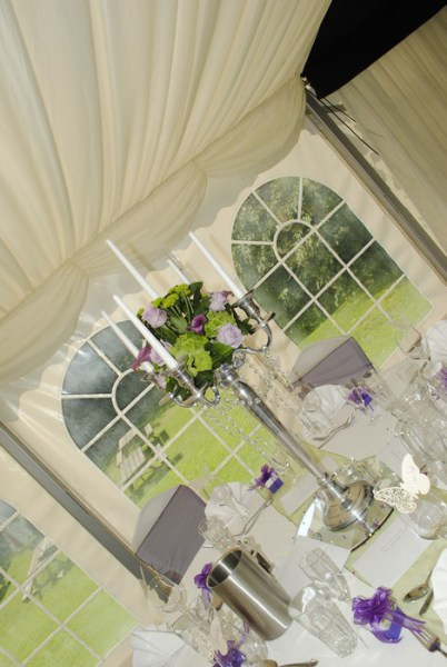 Silver Candelabra with fresh calla lilies, liac rose & mixed flowers finished with diamante garlands