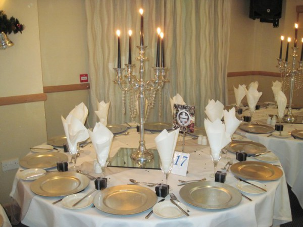 Silver Candelabra with black candles & draped diamantes