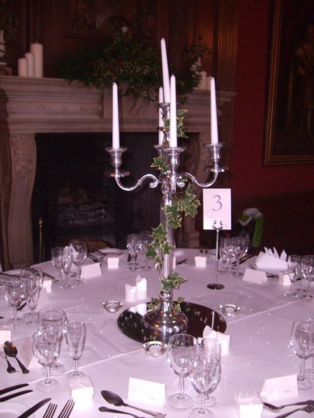 Silver Candelabra with artificial Ivy