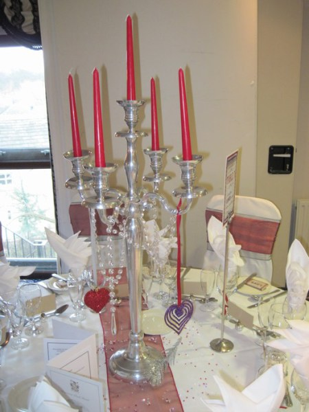 Silver Candelabra with hanging colour matched decor