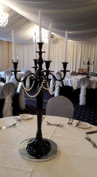 Black Candelabra with pearl garlands
