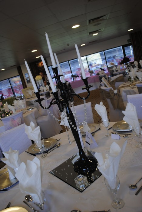 Black Candelabra with diamante garlands