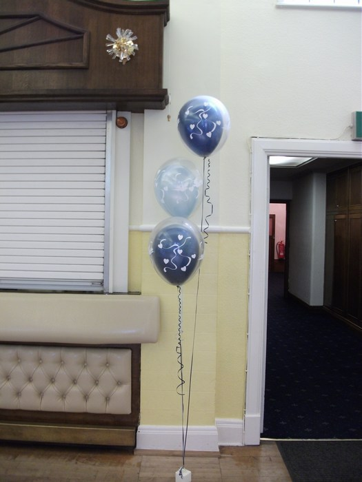 trio of balloons with all balloons double bubble