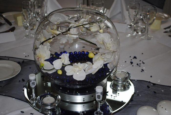 Large Goldfish Bowls navy crystal pearl & white orchids