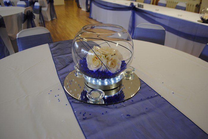 Large Goldfish Bowls royal blue crystal pearl & cream roses
