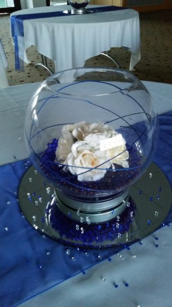 Large Goldfish Bowls royal blue crystal pearls & cream roses