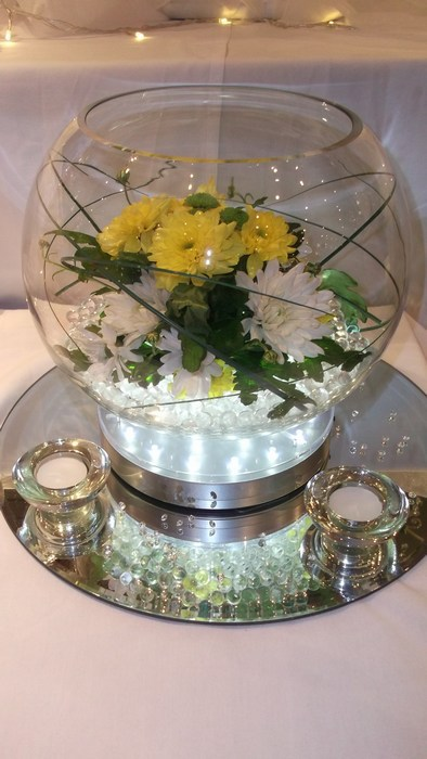 Large Goldfish Bowls fresh mixed flowers
