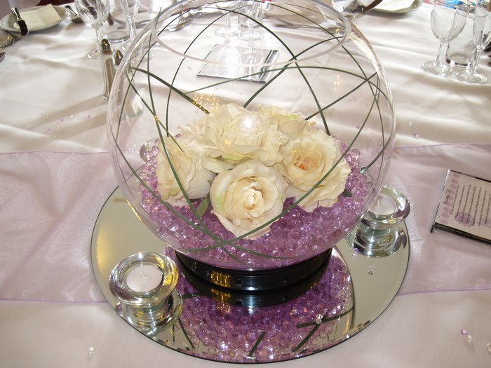 Large Goldfish Bowls lilac crystal pearls, cream roses & bear grass