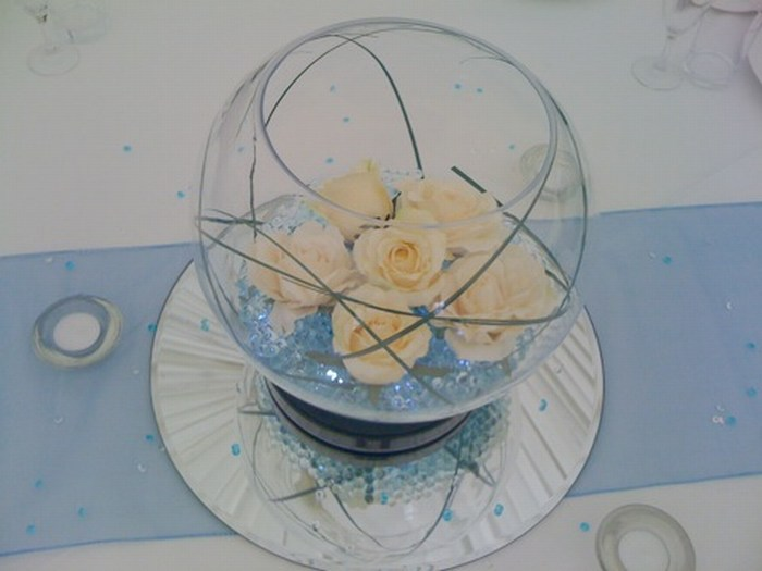 Large Goldfish Bowls with baby blue crystal pearl, cream roses & bear grass