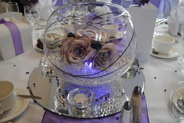 Large Goldfish Bowls with grape roses, lavender & purple canes