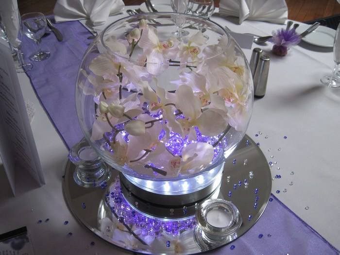 Large Goldfish Bowls with white orchids & purple crystal pearl