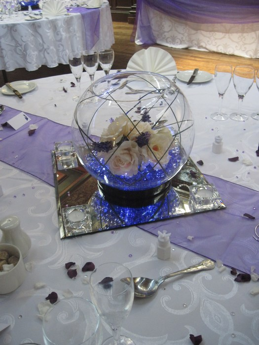 Large Goldfish Bowls with cream roses, lavender & purple crystal pearl
