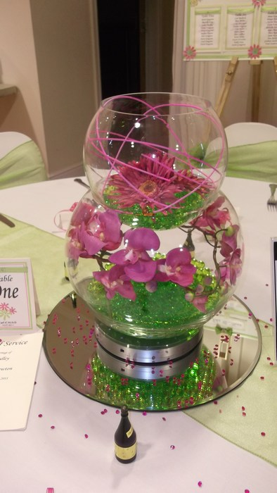 Double Goldfish Bowl hot pink orchid, gerbera & canes, green crystal pearls