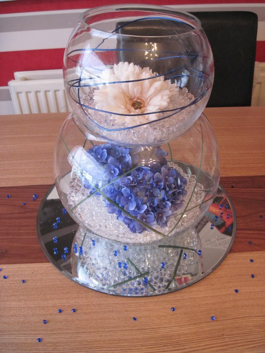 Double Goldfish Bowl blue hydrangea, cream gerbera and blue coil