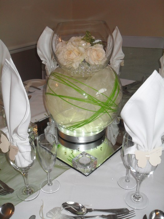 Double Goldfish Bowl ivory organza, green canes, cream roses, green butterfly