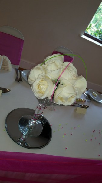 Small Martini cream roses, pink & green canes