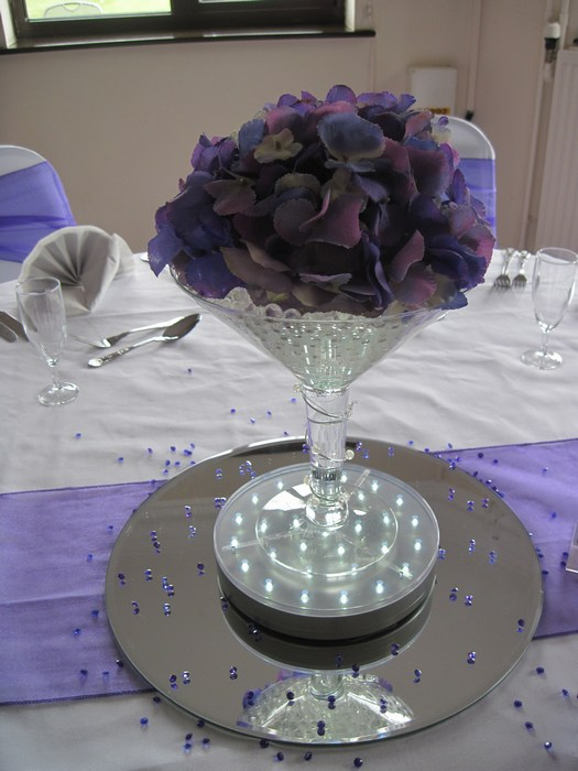 Small Martini purple Hydrangea & silver coil