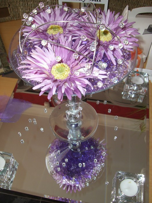 Small Martini purple pearl, purple gerbera, silver coil & beads
