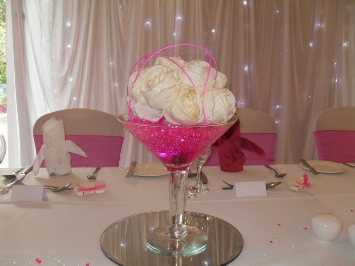 Small Martini cream rose posy & pink crystal pearl & canes