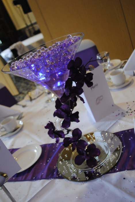 Wiggle Martini purple draped orchids, purple pearls