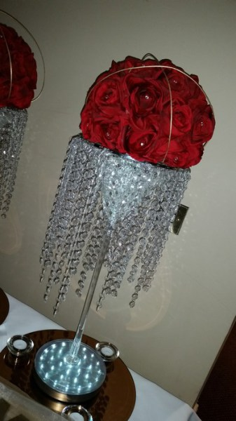 Super Martini red rose dome & crystal skirts