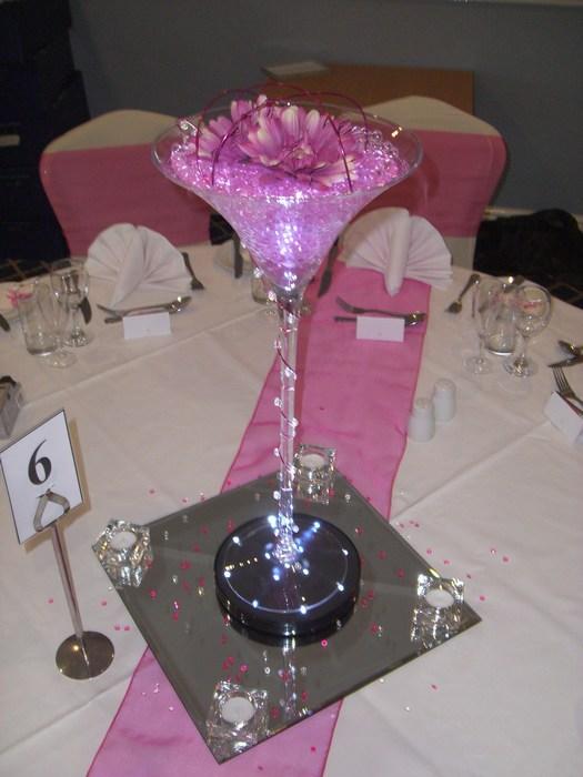 Super Martini pink gerbera, pearl, coil & beads