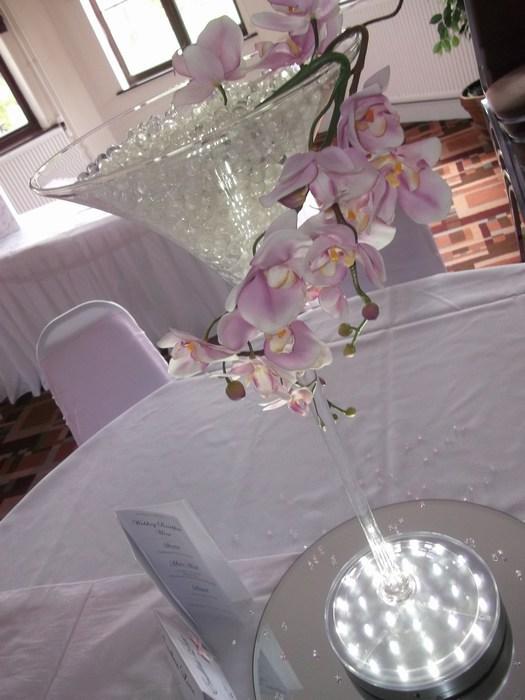 Super Martini draped pink orchids