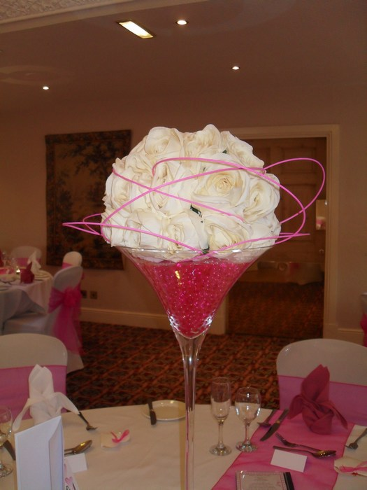 cream rose dome, pink canes & pearl