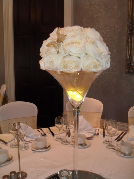 Super Martini cream rose dome gold organza & butterfly