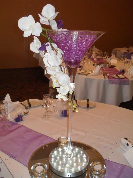 Super Martini draped white orchids purple pearl