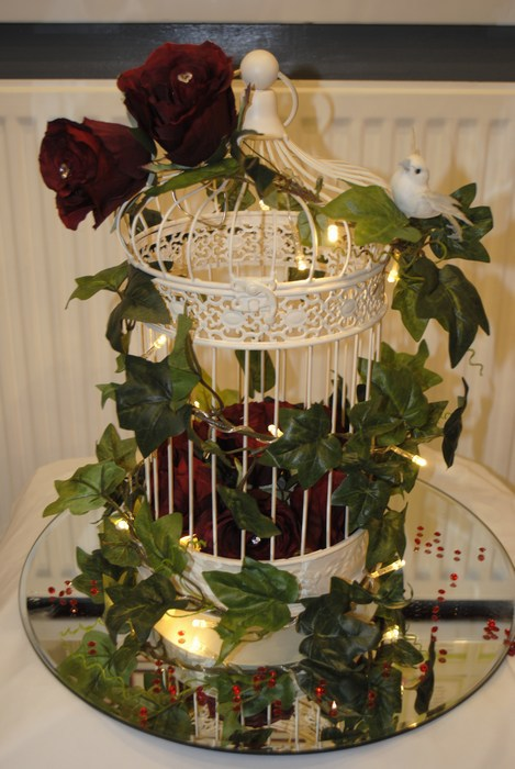 Vintage cream birdcage with red rose posy & birds