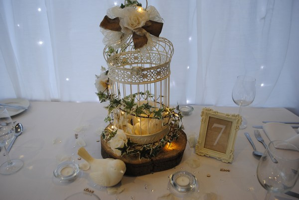 Vintage cream birdcage with cream petals, log slice & bird
