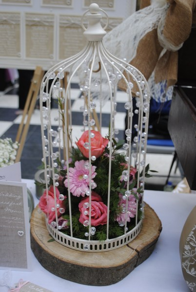 Beaded Birdcage with pink roses & gerbera