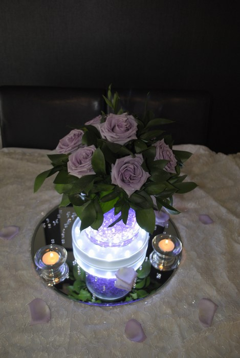 Short Cylinder with fresh lilac roses